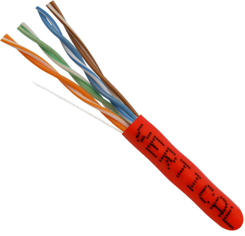 Cat5E, 24AWG, UTP, 8C Solid Copper, 350MHz, Riser Rated, PVC, Red, 1000ft