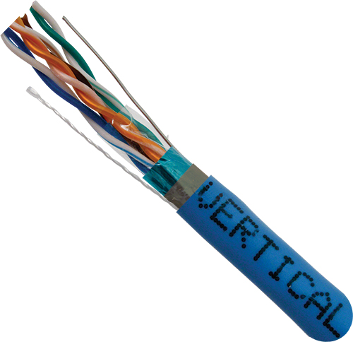 Cat5e Shielded, Plenum Rated, Blue, 24AWG, 8C Solid-Bare Copper,1000ft