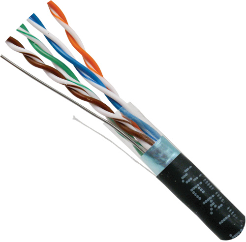 Cat5e Shielded, Black, 8-C, 24AWG, Solid-Bare-Copper, PVC Jacket, 1000ft