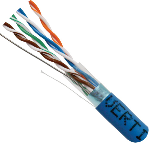 Cat5e Shielded, Blue, 8-C, 24AWG, Solid-Bare-Copper, PVC Jacket, 1000ft
