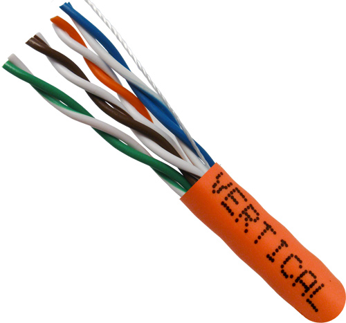 Cat5E, 24AWG, UTP, 8C Stranded Bare Copper, Orange PVC Jacket, 1000ft