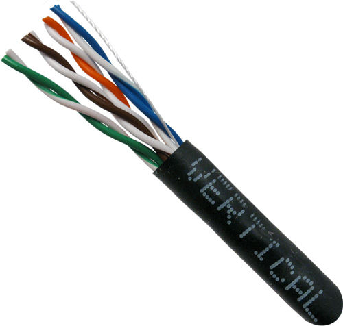 Cat5E, 24AWG, UTP, 8C Stranded Bare Copper, Black PVC Jacket, 1000ft