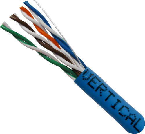 Cat5E, 24AWG, UTP, 8C Stranded Bare Copper, Blue PVC Jacket, 1000ft