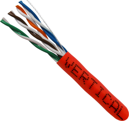 Cat5E, 24AWG, UTP, 8C Stranded Bare Copper, Red PVC Jacket, 1000ft