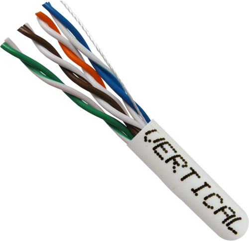 Cat5E, 24AWG, UTP, 8C Stranded Bare Copper, White PVC Jacket, 1000ft
