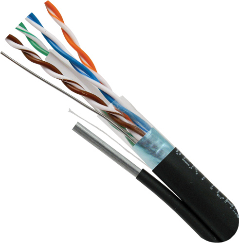 Cat5e, Outdoor Rated Cable, Messenger, LLDPE Jacket, Shielded, 24AWG Solid-Bare Copper, 1000ft, Black