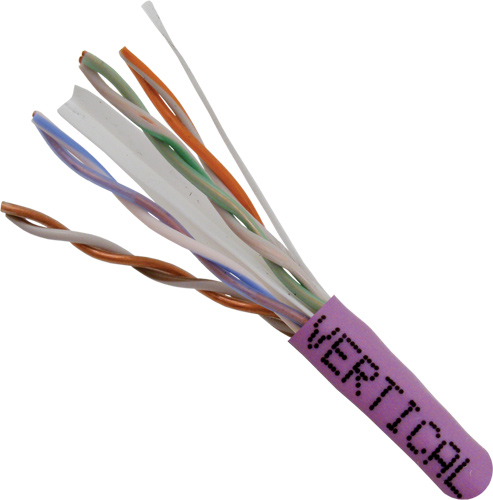 Cat6, 23AWG, UTP, 8C, Solid-Bare-Copper, 550MHz, Riser-Rated, PVC-Jacket, 1000ft, Purple