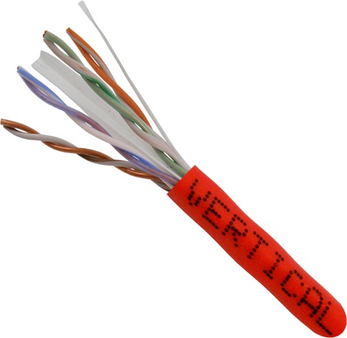 Cat6, 23AWG, UTP, 8C, Solid-Bare-Copper, 550MHz, Riser-Rated, PVC-Jacket, 1000ft, Red