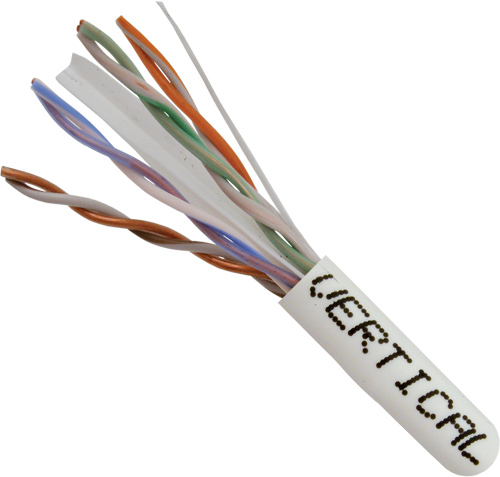 Cat6, 23AWG, UTP, 8C, Solid-Bare-Copper, 550MHz, Riser-Rated, PVC-Jacket, 1000ft, White