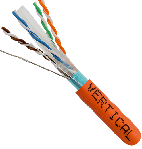 Cat6 Shielded, STP, 23AWG, 8-Conductor,Solid-Bare-Copper, PVC Jacket, 1000ft, Orange