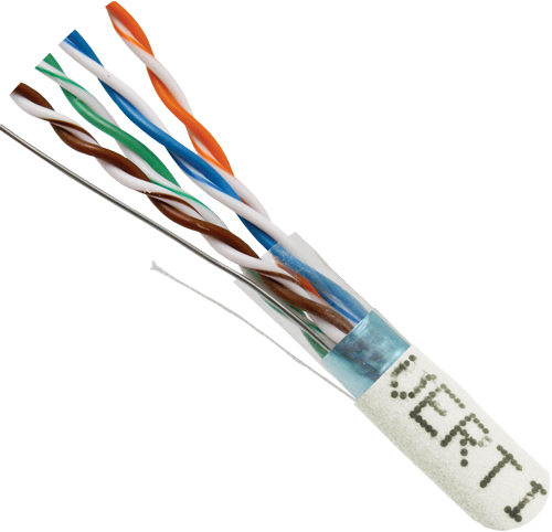 Cat6 Shielded, STP, 24AWG, 8-Conductor, Stranded-Copper-Conductors, 1000ft, White