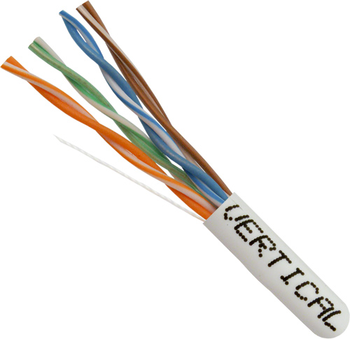 Cat6, UTP, PVC-Jacket,  8-Conductor, 24AWG, Stranded-Bare-Copper, 550MHz, 1000ft, White