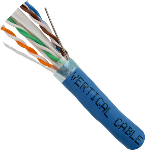 Cat6a, 10Gb, STP, 8-Conductor, PVC Jacket, AWG23 Solid-Bare Copper, 1000ft, Blue