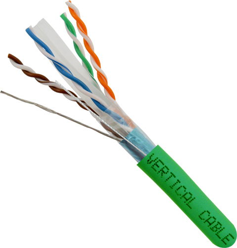 Cat6a, 10Gb, STP, 8-Conductor, PVC Jacket, AWG23 Solid-Bare Copper, 1000ft, Green