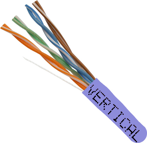 Cat6, 23AWG, 8C, Solid-Bare-Copper, 550MHz, Plenum Rated, Purple, 1000ft