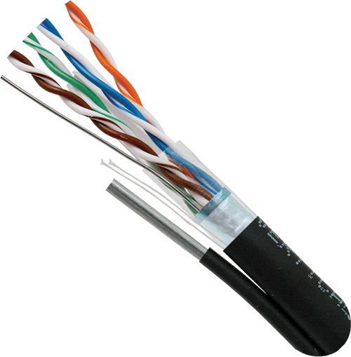 Cat6, Outdoor Rated Cable with Messenger, LLDPE Jacket, Shielded, 23AWG, Solid-Bare Copper, 1000ft, Black