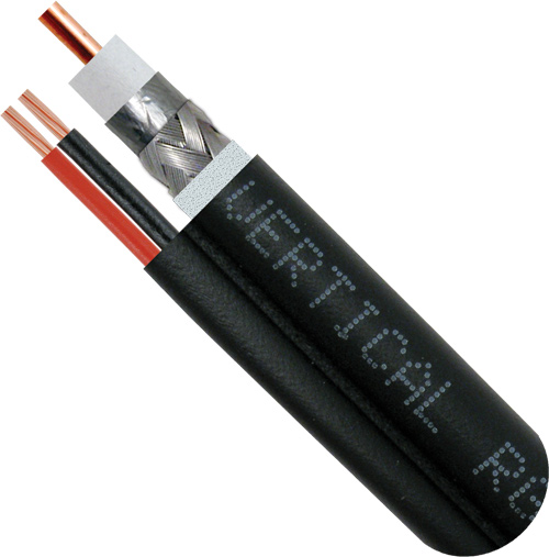 RG6 Siamese, Direct Burial, 18AWG CCS Conductor, 60% Aluminum BRAID, 2-18AWG Conductors, Polythylene Jacket, 1000FT, Black