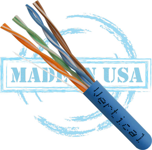 Cat6, Plenum, Made in USA, 23AWG, UTP, 4-Pair, Solid Bare Copper, 550MHz, 1000ft, Blue