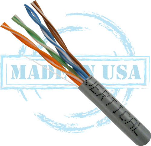 Cat6, Plenum, Made in USA, 23AWG, UTP, 4-Pair, Solid Bare Copper, 550MHz, 1000ft, Gray