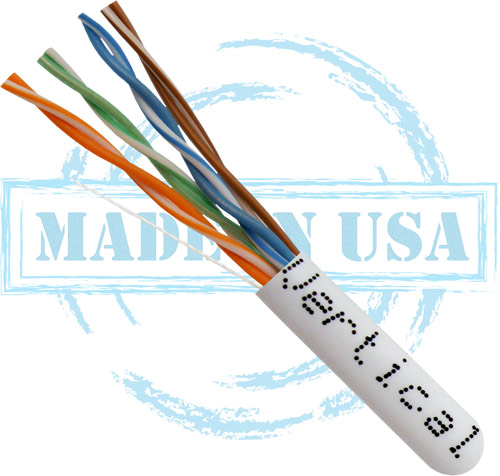 Cat6, Plenum, Made in USA, 23AWG, UTP, 4-Pair, Solid Bare Copper, 550MHz, 1000ft, White