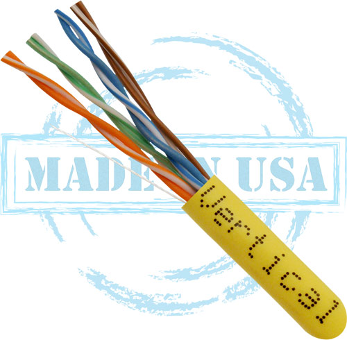 Cat6, Plenum, Made in USA, 23AWG, UTP, 4-Pair, Solid Bare Copper, 550MHz, 1000ft, Yellow
