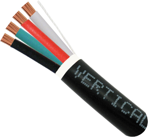 Audio Cable, Direct Burial, 14AWG, 4 Conductor, Stranded, 500ft, Black