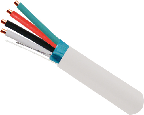Alarm-Security Cable, Solid, Shielded, 22AWG, 4 Conductor, 500ft, White