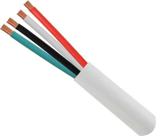 16/4 Plenum, Unshielded, Stranded, Bare-Copper Conductors, White, 500ft