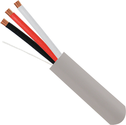 Alarm-Security-Cable, Unshielded, 18AWG, 3-Conductor, Stranded, 500ft, Gray