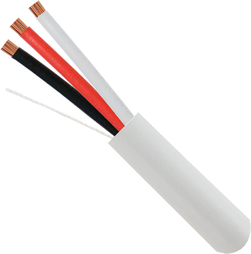 Alarm-Security-Cable, Unshielded, 18AWG, 3-Conductor, Stranded, 500ft, White