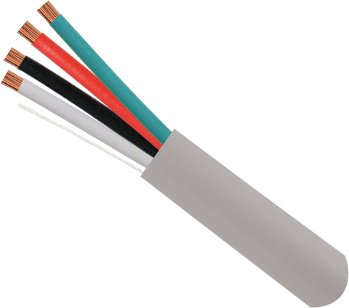 Alarm-Security-Cable, Unshielded, 18AWG, 4-Conductor, Stranded, 500ft, Gray